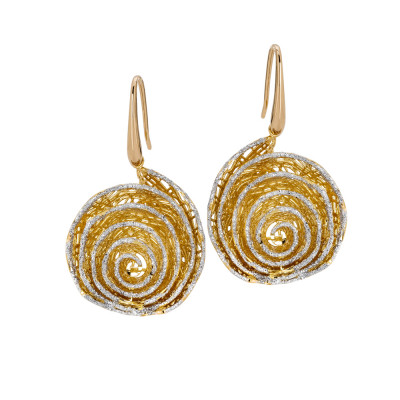 Earrings with spiral pendant in silver glitter