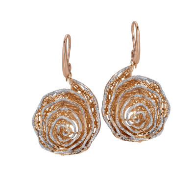 Pink earrings with spiral pendant in silver glitter