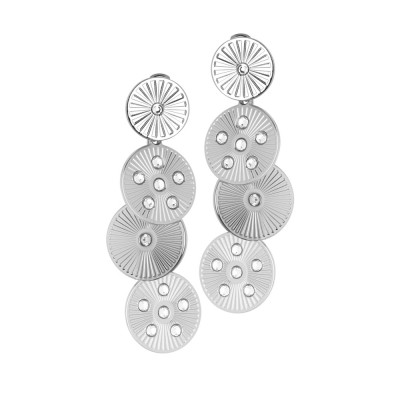 Rhodium plated pendant earrings with circular and Swarovski modules