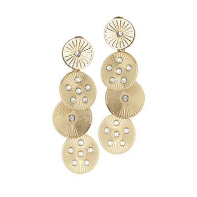 Golden pendant earrings with circular and Swarovski modules
