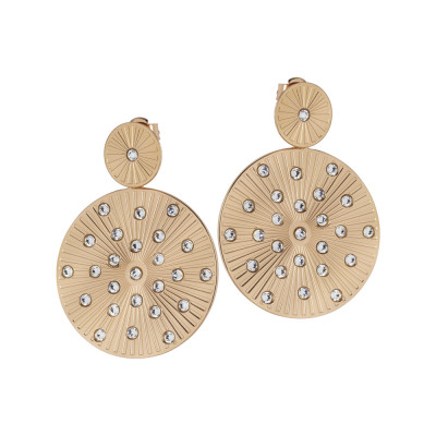 Gilded pendent earrings with radial circular decoration and Swarovski