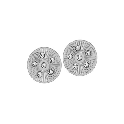 Rhodium-plated rhodium-plated earrings with rays and Swarovski