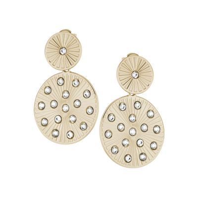 Golden earrings with circular ray and Swarovski pendants