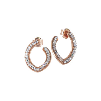Pink earrings with navette and Swarovski