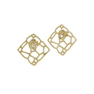 Golden lobe earrings with mesh and Swarovski weave