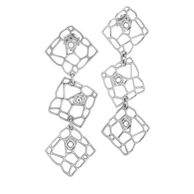 Modular rhodium-plated earrings with mesh and Swarovski weaves