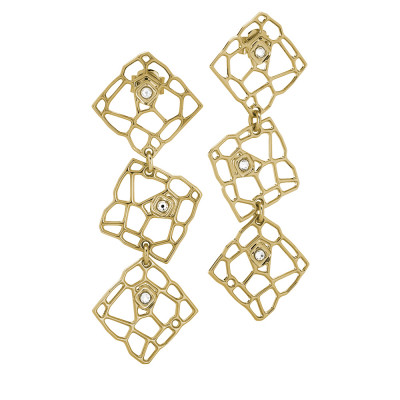 Modular golden earrings with mesh and Swarovski weave