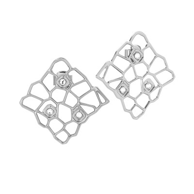 Rhodium-plated earrings with mesh and Swarovski weave