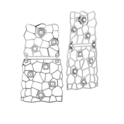 Rhodium-plated earrings with asymmetrical modules and Swarovski