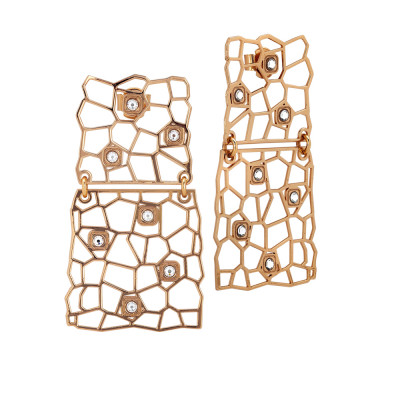 Rosé earrings with asymmetrical modules and Swarovski