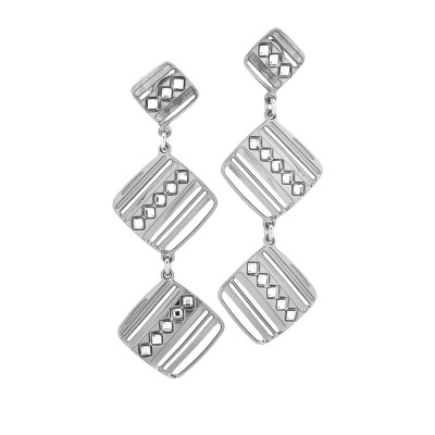 Rhodium-plated earrings with pendant modules decorated by Swarovski