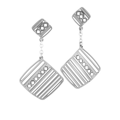 Rhodium-plated earrings with pendant decorated by Swarovski