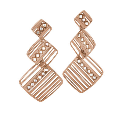 Rosé dangling earrings decorated by Swarovski