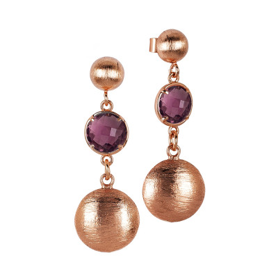 Drop earrings with amethyst crystal