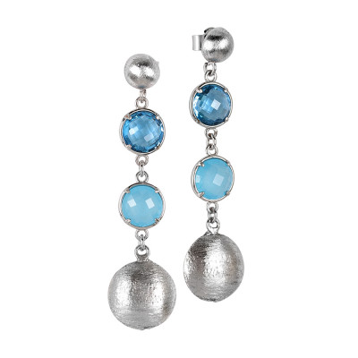 Hanging rhodium-plated earrings with sky crystals and light blue milk