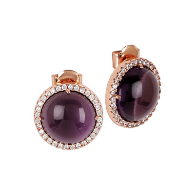Lobe earrings with cubic zirconia and amethyst-colored cabochon