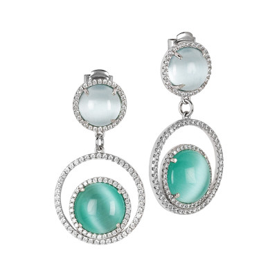 Earrings with cubic zirconia and green water and light blue cabochons
