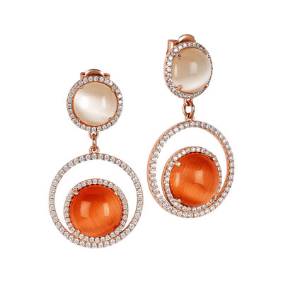 Earrings with cubic zirconia and beige and orange cabochon