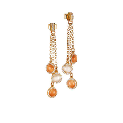 Tufted earrings with zircons and orange and beige cabochons