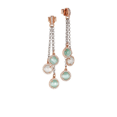Tufted earrings with cubic zirconia and light blue and aqua green cabochon