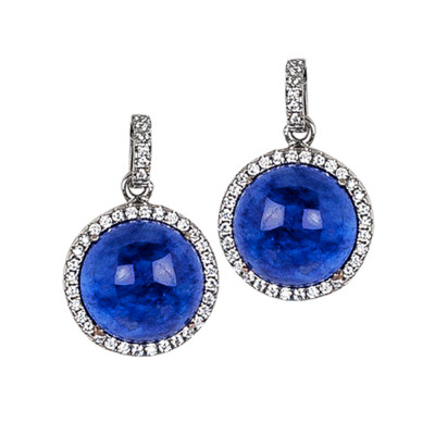 Earrings with rutilated blue cabochon pendant and zircons