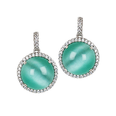 Earrings with pendant green cabochon water, flecked with zircons
