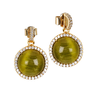 Earrings with pendant green cabochon and zircon