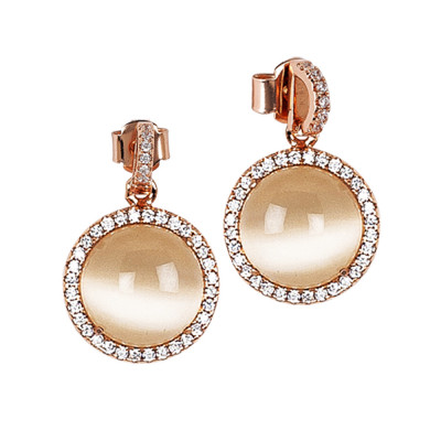 Earrings with beige cabochon pendant and zircons