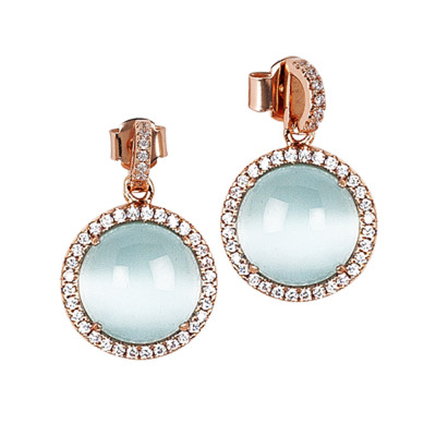 Earrings with pendant cabochon light blue flecked and zircons