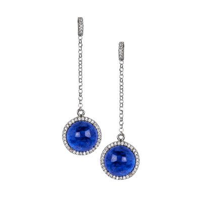 Earrings with cubic zirconia pendant and blue cabochon