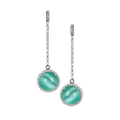 Earrings with cubic zirconia pendant and aqua green cabochon