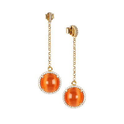 Earrings with cubic zirconia pendant and flecked orange cabochon