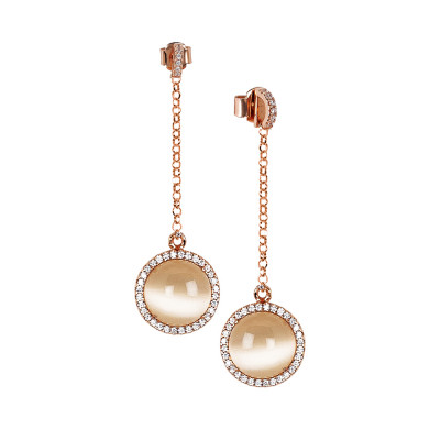 Earrings with cubic zirconia pendant and flecked beige cabochon