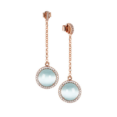 Earrings with cubic zirconia pendant and flecky blue cabochon