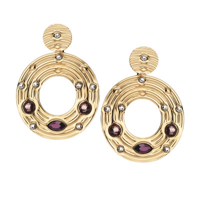 Earrings with circular pendant and pink Swarovski