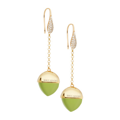 Hook earrings with cubic zirconia and olivine-colored crystal