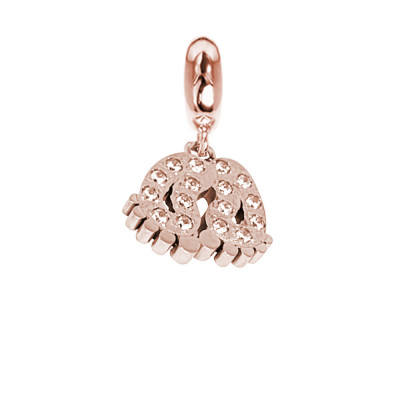 Rose charm with feet of zircons