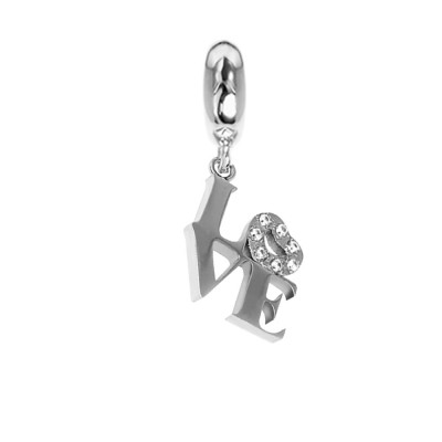 """Charm with written !Love"""" and zircons"""