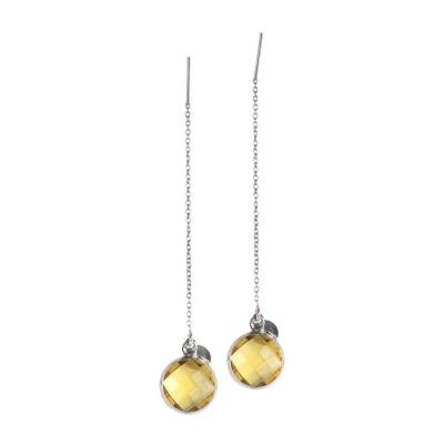 Orecchini saliscendi con cristallo briolette giallo