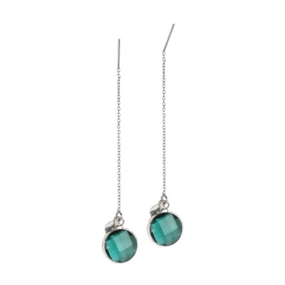 Earrings latch with briolette crystal green